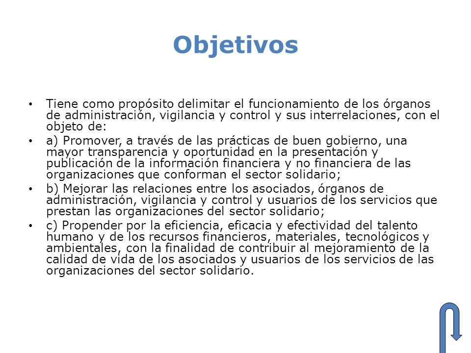 Objetivos Tiene como propósito delimitar el funcionamiento de los órganos de administración, vigilancia y control y sus interrelaciones, con el objeto