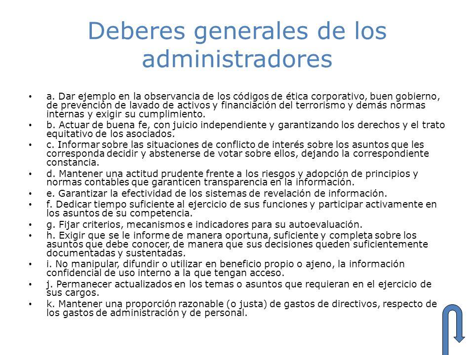 Deberes generales de los administradores a. Dar ejemplo en la observancia de los códigos de ética corporativo, buen gobierno, de prevención de lavado