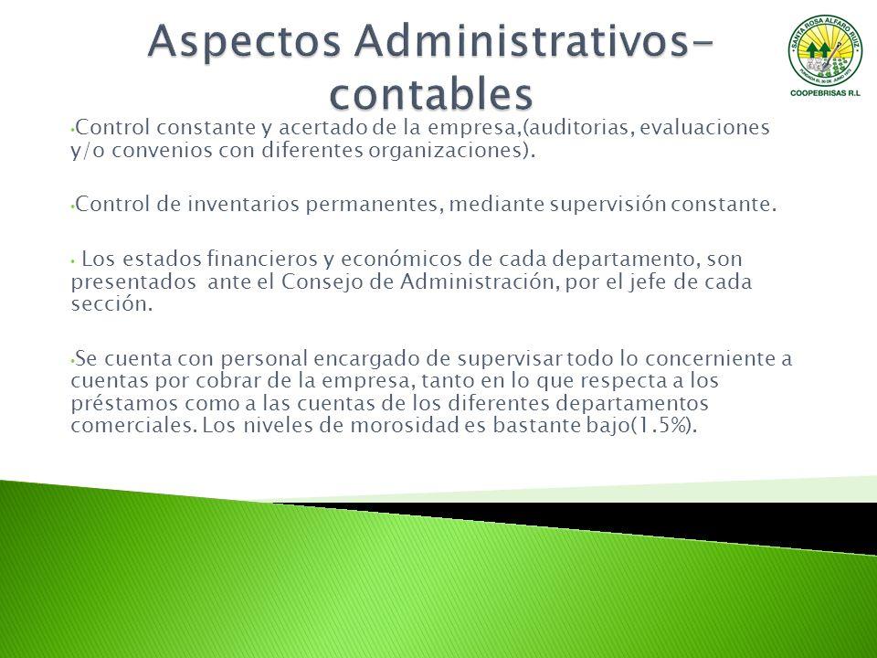 Control constante y acertado de la empresa,(auditorias, evaluaciones y/o convenios con diferentes organizaciones). Control de inventarios permanentes,