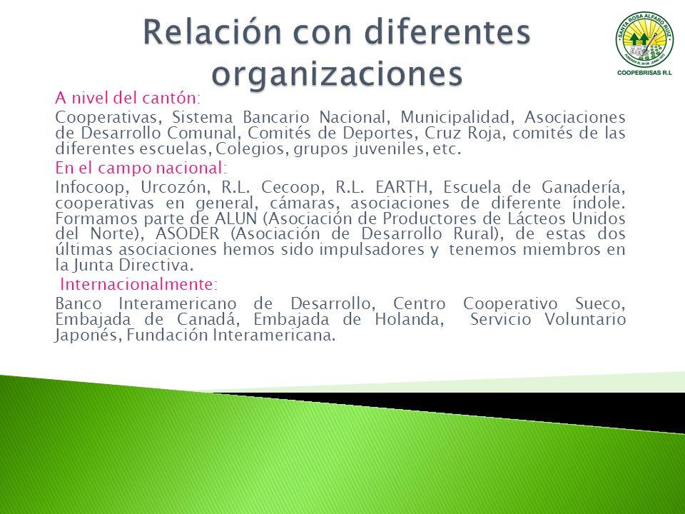 A nivel del cantón: Cooperativas, Sistema Bancario Nacional, Municipalidad, Asociaciones de Desarrollo Comunal, Comités de Deportes, Cruz Roja, comité