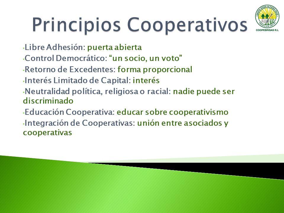Libre Adhesión: puerta abierta Control Democrático: un socio, un voto Retorno de Excedentes: forma proporcional Interés Limitado de Capital: interés N