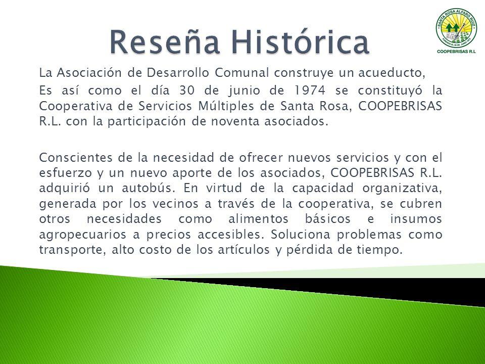 La Asociación de Desarrollo Comunal construye un acueducto, Es así como el día 30 de junio de 1974 se constituyó la Cooperativa de Servicios Múltiples