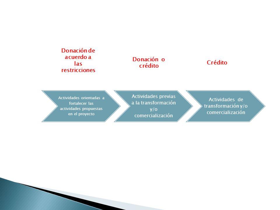 Actividades orientadas a fortalecer las actividades propuestas en el proyecto Actividades previas a la transformación y/o comercialización Actividades