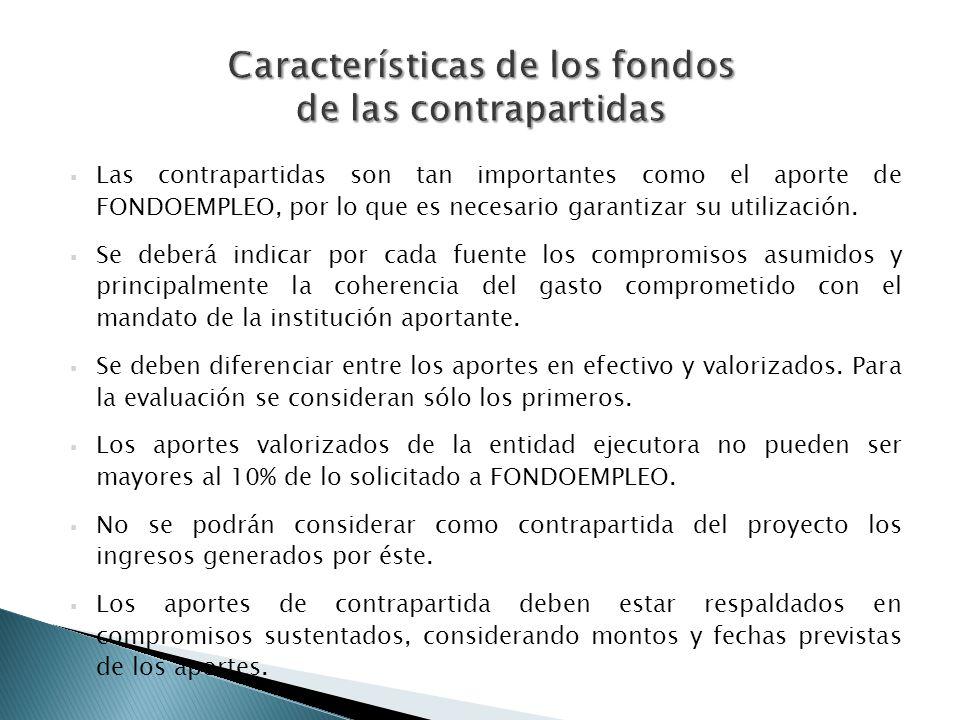 Las contrapartidas son tan importantes como el aporte de FONDOEMPLEO, por lo que es necesario garantizar su utilización. Se deberá indicar por cada fu