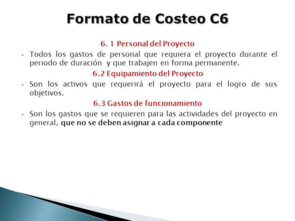 6. 1 Personal del Proyecto Todos los gastos de personal que requiera el proyecto durante el periodo de duración y que trabajen en forma permanente. 6.