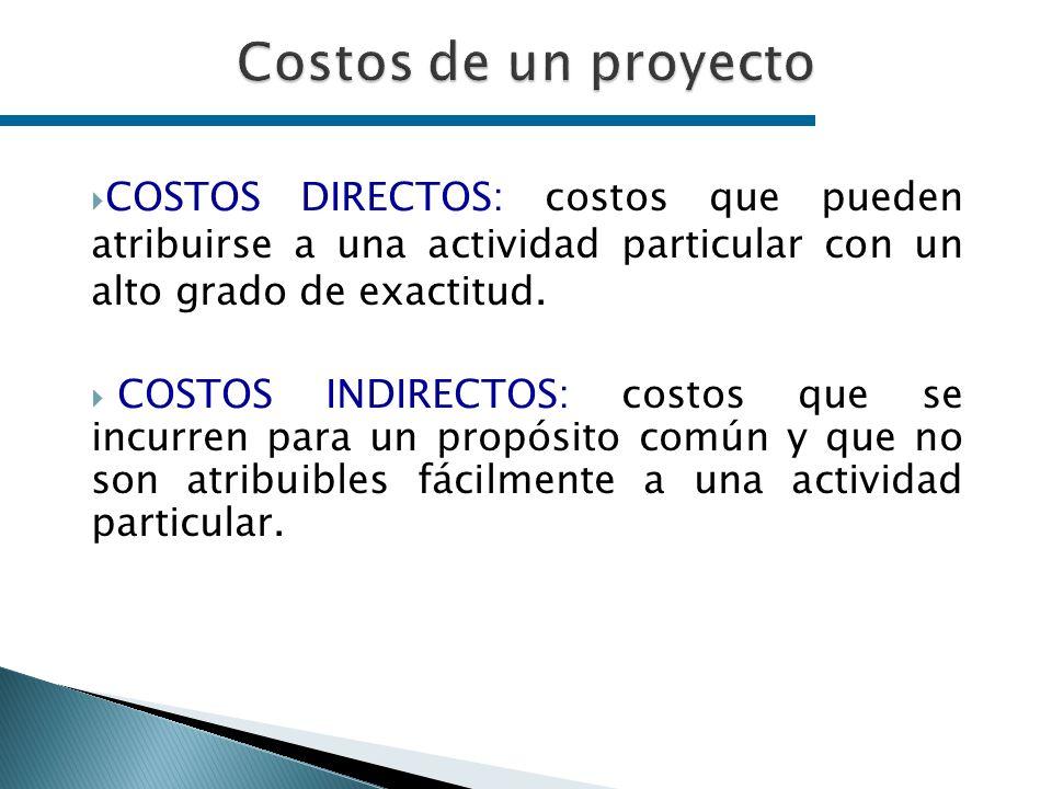 COSTOS DIRECTOS: costos que pueden atribuirse a una actividad particular con un alto grado de exactitud. COSTOS INDIRECTOS: costos que se incurren par