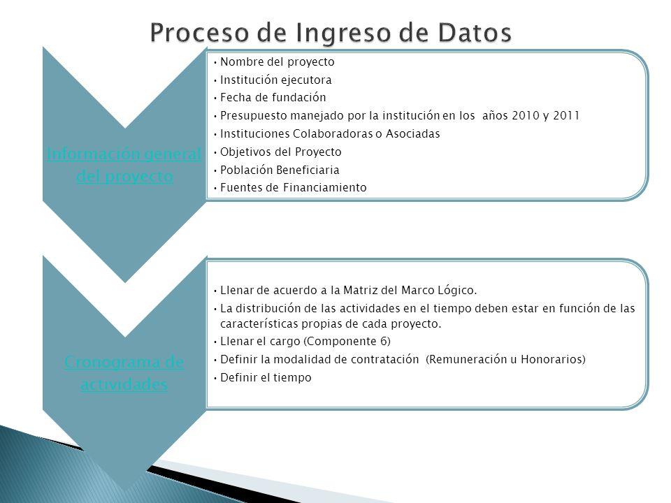 Proceso de Ingreso de Datos Información general del proyecto Nombre del proyecto Institución ejecutora Fecha de fundación Presupuesto manejado por la