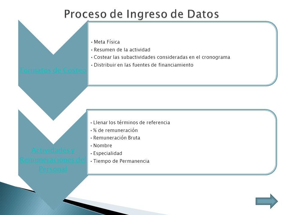 Proceso de Ingreso de Datos Formatos de Costeo Meta Física Resumen de la actividad Costear las subactividades consideradas en el cronograma Distribuir