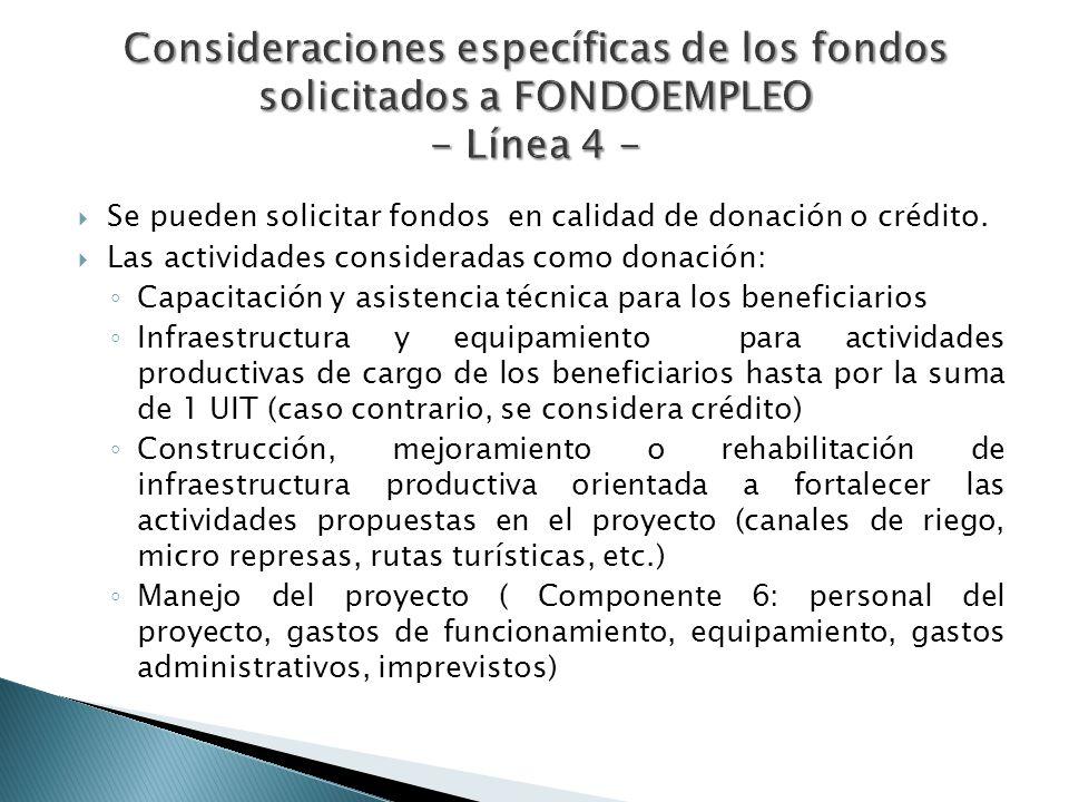 Se pueden solicitar fondos en calidad de donación o crédito. Las actividades consideradas como donación: Capacitación y asistencia técnica para los be