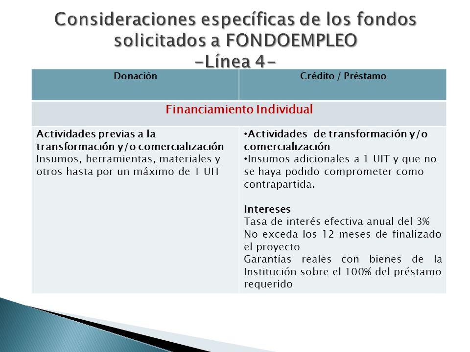 DonaciónCrédito / Préstamo Financiamiento Individual Actividades previas a la transformación y/o comercialización Insumos, herramientas, materiales y