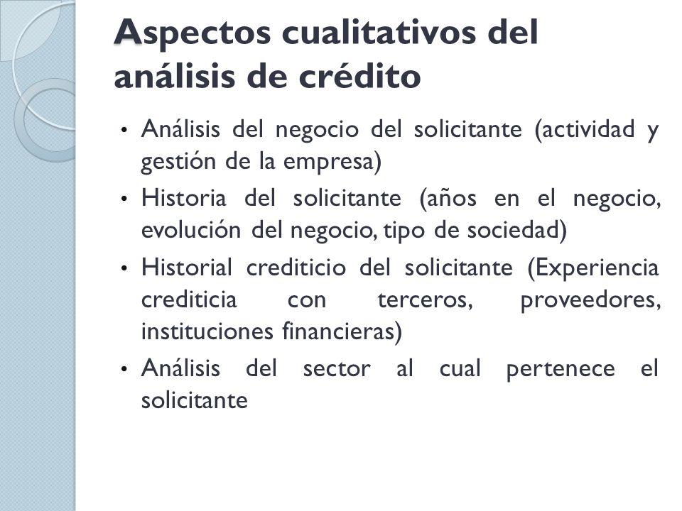A Aspectos cualitativos del análisis de crédito Análisis del negocio del solicitante (actividad y gestión de la empresa) Historia del solicitante (año