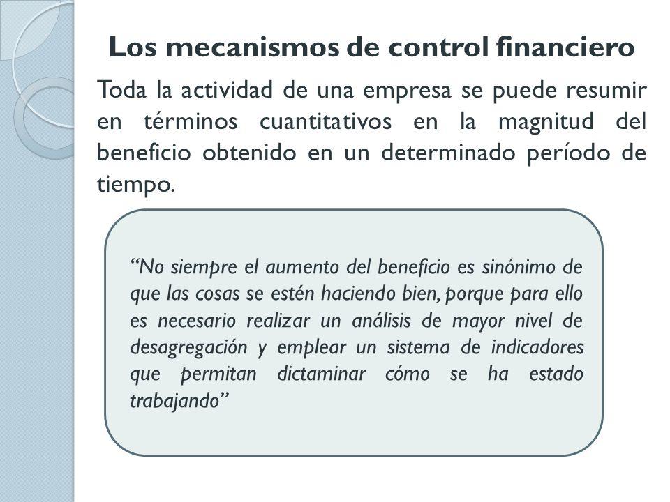 Los mecanismos de control financiero Toda la actividad de una empresa se puede resumir en términos cuantitativos en la magnitud del beneficio obtenido