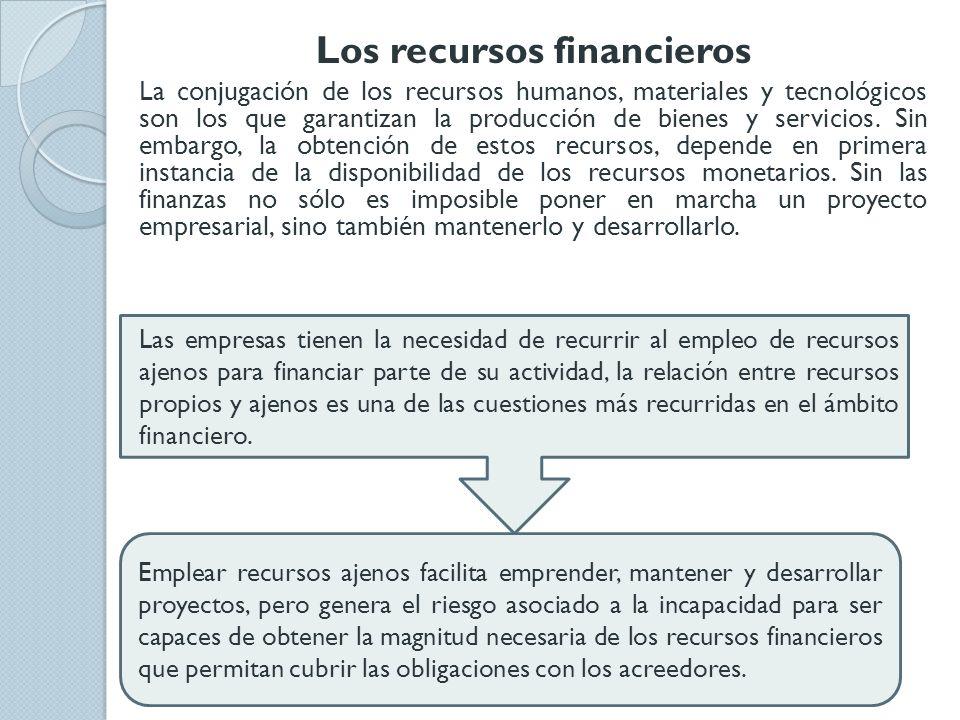 Los recursos financieros La conjugación de los recursos humanos, materiales y tecnológicos son los que garantizan la producción de bienes y servicios.