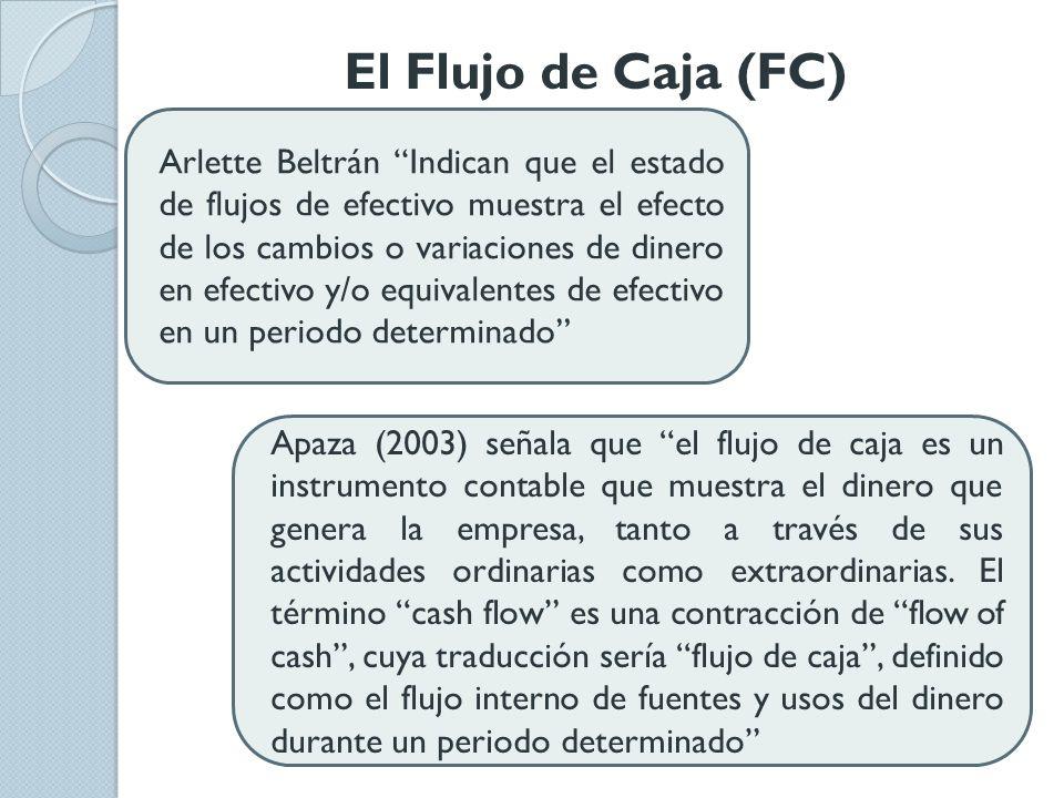 El Flujo de Caja (FC) Arlette Beltrán Indican que el estado de flujos de efectivo muestra el efecto de los cambios o variaciones de dinero en efectivo