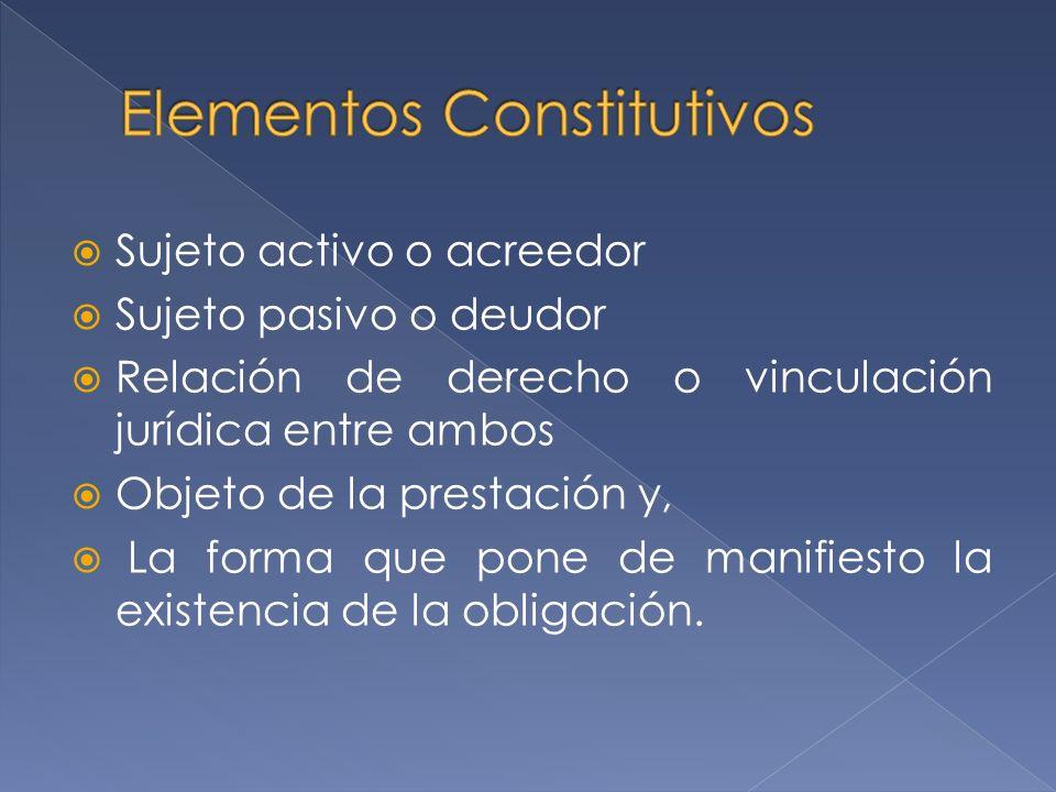 Sujeto activo o acreedor Sujeto pasivo o deudor Relación de derecho o vinculación jurídica entre ambos Objeto de la prestación y, La forma que pone de manifiesto la existencia de la obligación.