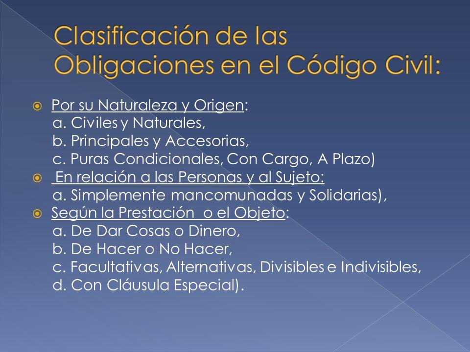 Por su Naturaleza y Origen: a.Civiles y Naturales, b.