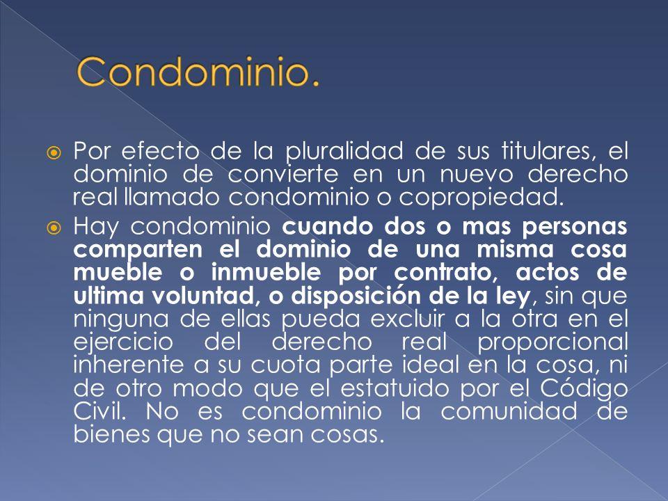 Por efecto de la pluralidad de sus titulares, el dominio de convierte en un nuevo derecho real llamado condominio o copropiedad.