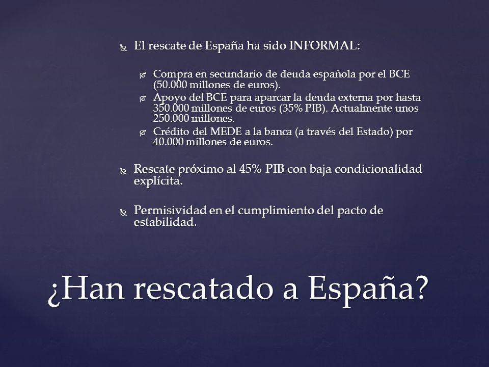 El rescate de España ha sido INFORMAL: El rescate de España ha sido INFORMAL: Compra en secundario de deuda española por el BCE (50.000 millones de euros).