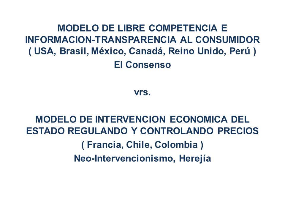 MODELO DE LIBRE COMPETENCIA E INFORMACION-TRANSPARENCIA AL CONSUMIDOR ( USA, Brasil, México, Canadá, Reino Unido, Perú ) El Consenso vrs. MODELO DE IN