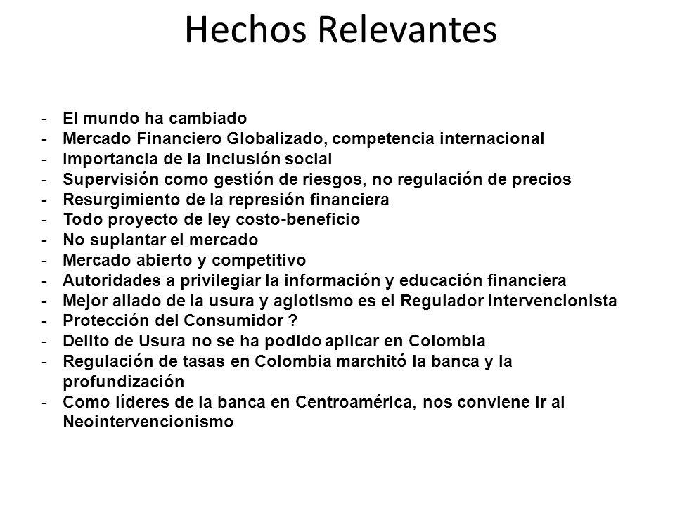Debilidades Metodológicas de la Tasa de Usura Propuesta -Mezcla en un promedio, tasas de programas de riesgos y costos diferentes -En Chile y Colombia se definen por Programa de Crédito -Eso conduce a una referencia circular que hará que las tasas sigan bajando y los excesos de oferta mayores - Trata a todos los clientes por igual y hace que bancos se peguen al techo
