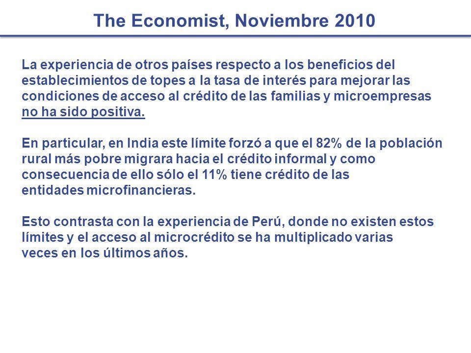The Economist, Noviembre 2010 La experiencia de otros países respecto a los beneficios del establecimientos de topes a la tasa de interés para mejorar