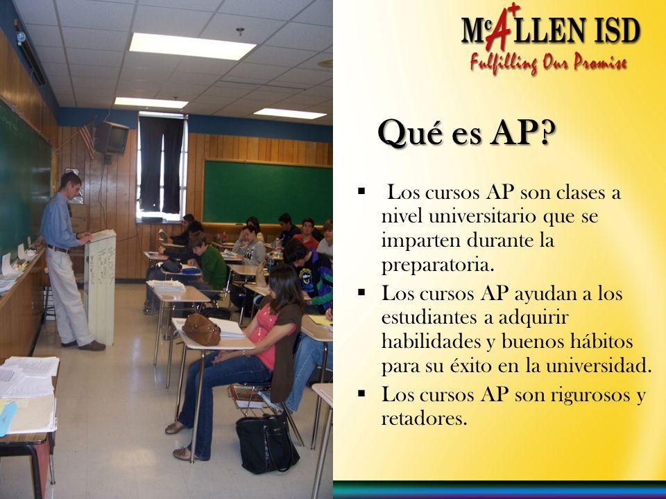 Qué es AP? Los cursos AP son clases a nivel universitario que se imparten durante la preparatoria. Los cursos AP ayudan a los estudiantes a adquirir h