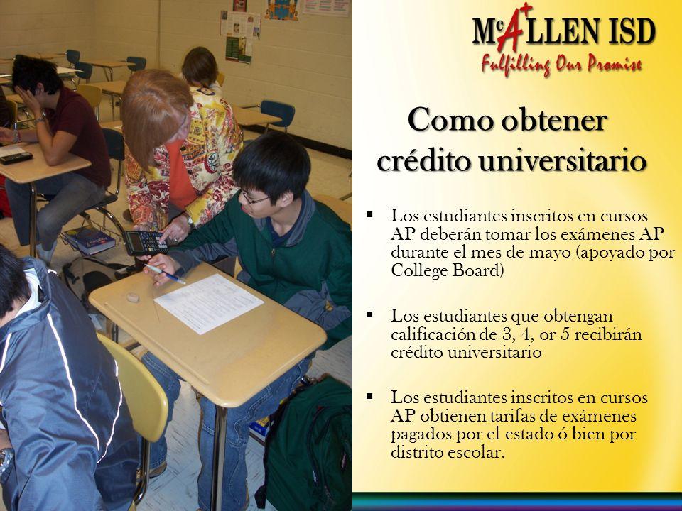 Como obtener crédito universitario Como obtener crédito universitario Los estudiantes inscritos en cursos AP deberán tomar los exámenes AP durante el