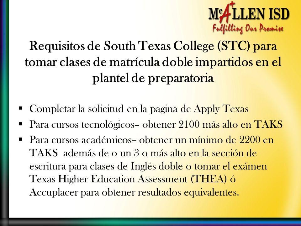 Completar la solicitud en la pagina de Apply Texas Para cursos tecnológicos– obtener 2100 más alto en TAKS Para cursos académicos– obtener un mínimo de 2200 en TAKS además de o un 3 o más alto en la sección de escritura para clases de Inglés doble o tomar el exámen Texas Higher Education Assessment (THEA) ó Accuplacer para obtener resultados equivalentes.