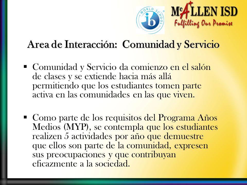 Comunidad y Servicio da comienzo en el salón de clases y se extiende hacia más allá permitiendo que los estudiantes tomen parte activa en las comunidades en las que viven.
