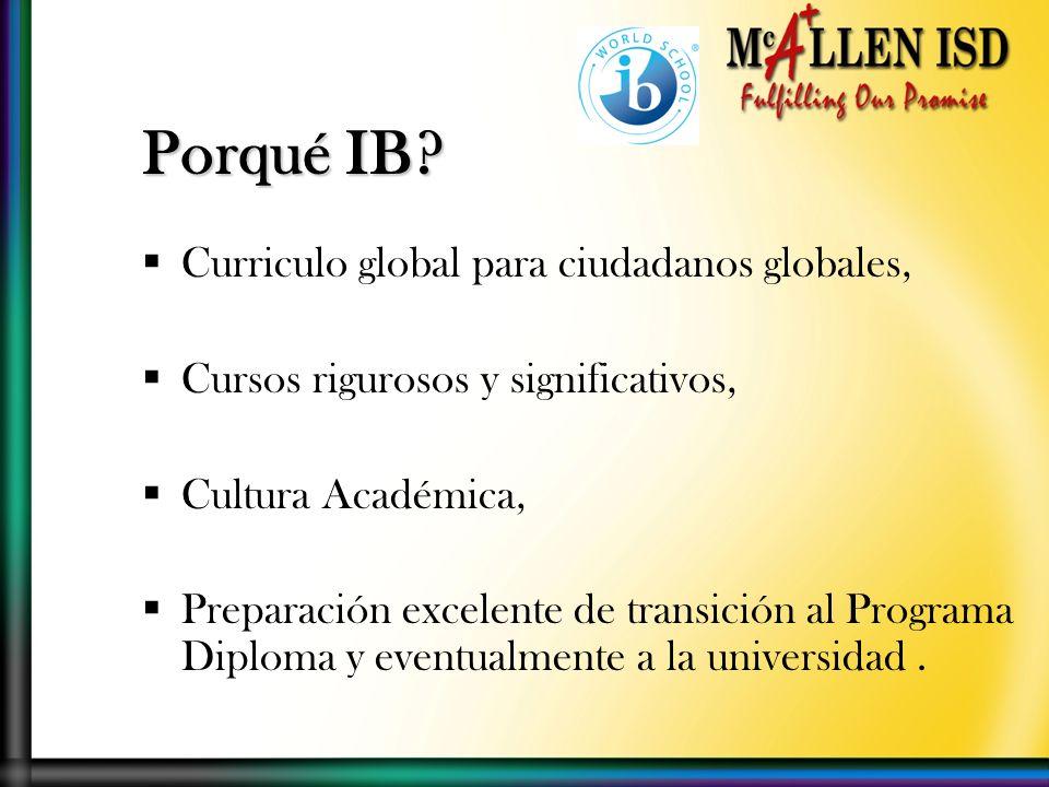 Curriculo global para ciudadanos globales, Cursos rigurosos y significativos, Cultura Académica, Preparación excelente de transición al Programa Diploma y eventualmente a la universidad.