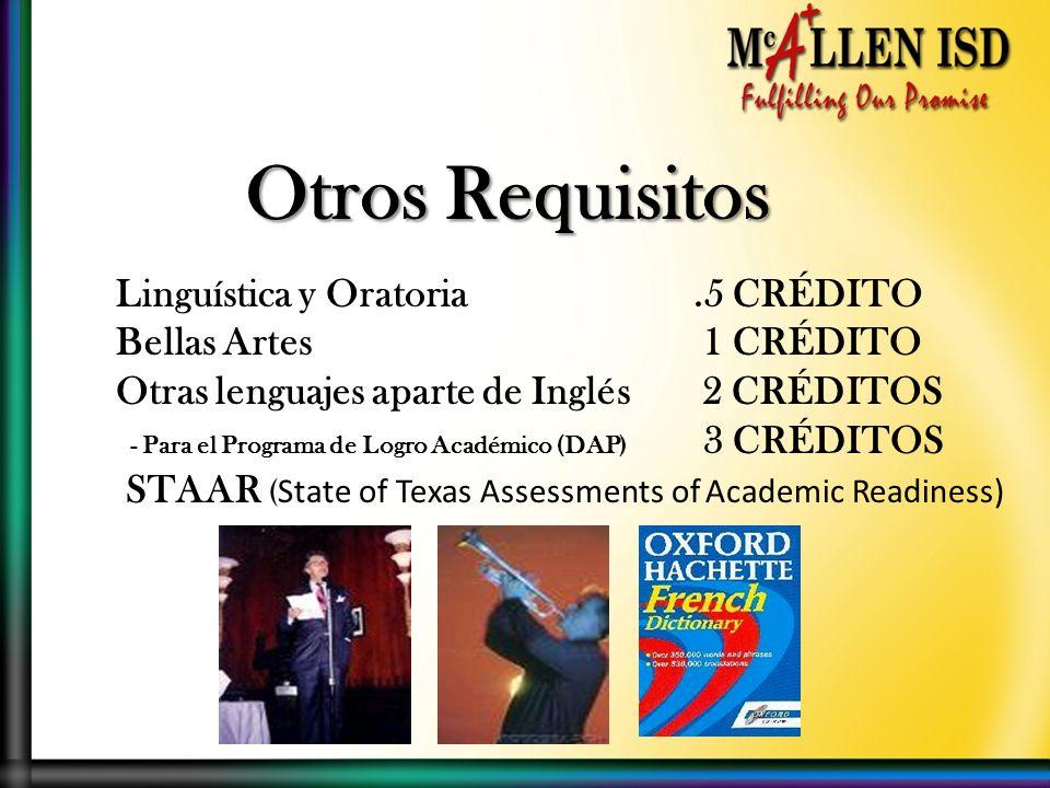 Otros Requisitos Linguística y Oratoria.5 CRÉDITO Bellas Artes 1 CRÉDITO Otras lenguajes aparte de Inglés 2 CRÉDITOS - Para el Programa de Logro Académico (DAP) 3 CRÉDITOS STAAR ( State of Texas Assessments of Academic Readiness)