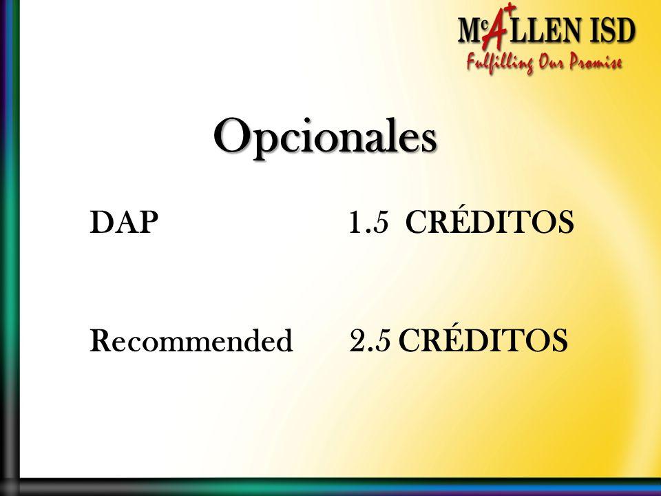 Opcionales DAP 1.5 CRÉDITOS Recommended 2.5 CRÉDITOS