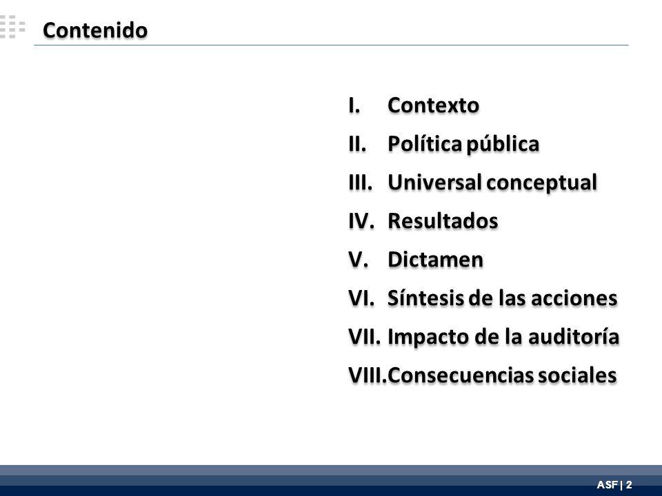 ASF | 2 Contenido I.Contexto II.Política pública III.Universal conceptual IV.Resultados V.Dictamen VI.Síntesis de las acciones VII.Impacto de la auditoría VIII.Consecuencias sociales I.Contexto II.Política pública III.Universal conceptual IV.Resultados V.Dictamen VI.Síntesis de las acciones VII.Impacto de la auditoría VIII.Consecuencias sociales