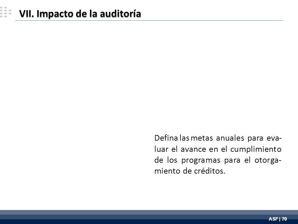 ASF | 70 Defina las metas anuales para eva- luar el avance en el cumplimiento de los programas para el otorga- miento de créditos.
