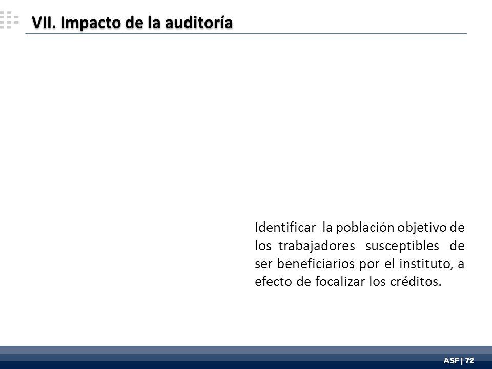 ASF | 72 Identificar la población objetivo de los trabajadores susceptibles de ser beneficiarios por el instituto, a efecto de focalizar los créditos.