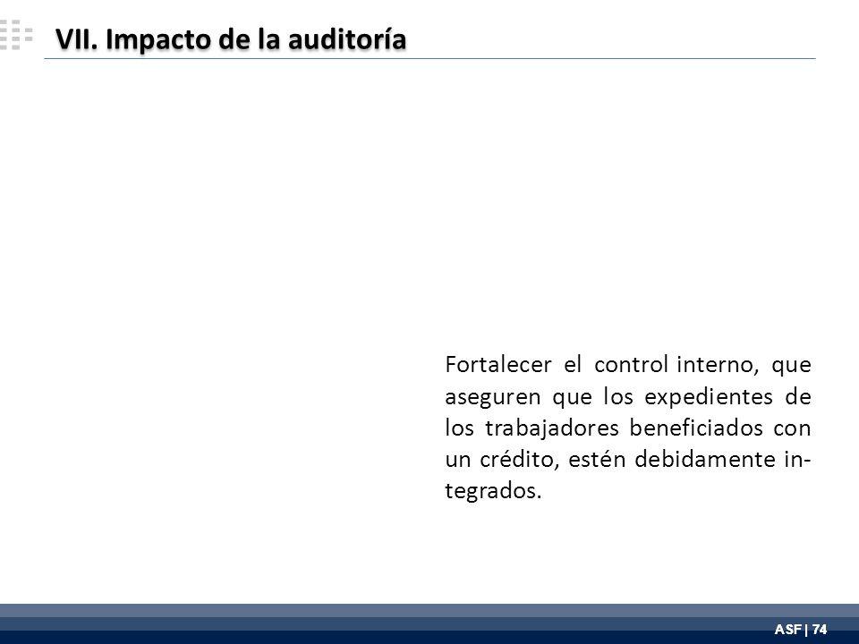 ASF | 74 Fortalecer el control interno, que aseguren que los expedientes de los trabajadores beneficiados con un crédito, estén debidamente in- tegrados.