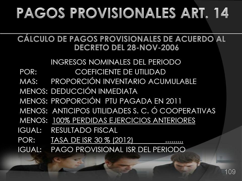 CÁLCULO DE PAGOS PROVISIONALES DE ACUERDO AL DECRETO DEL 28-NOV-2006 INGRESOS NOMINALES DEL PERIODO POR: COEFICIENTE DE UTILIDAD MAS: PROPORCIÓN INVEN