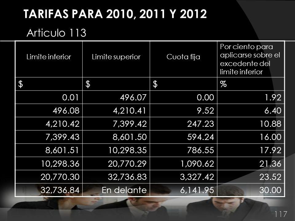 TARIFAS PARA 2010, 2011 Y 2012 Articulo 113 Limite inferiorLimite superiorCuota fija Por ciento para aplicarse sobre el excedente del limite inferior