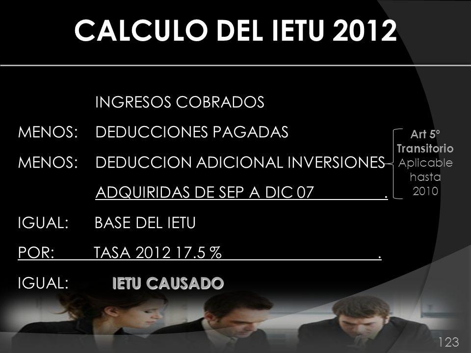 INGRESOS COBRADOS MENOS: DEDUCCIONES PAGADAS MENOS: DEDUCCION ADICIONAL INVERSIONES ADQUIRIDAS DE SEP A DIC 07. IGUAL: BASE DEL IETU POR: TASA 2012 17