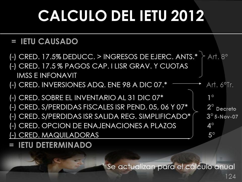 = IETU CAUSADO (-) CRED. 17.5% DEDUCC. > INGRESOS DE EJERC. ANTS.* Art. 8° (-) CRED. 17.5 % PAGOS CAP. I LISR GRAV. Y CUOTAS IMSS E INFONAVIT (-) CRED