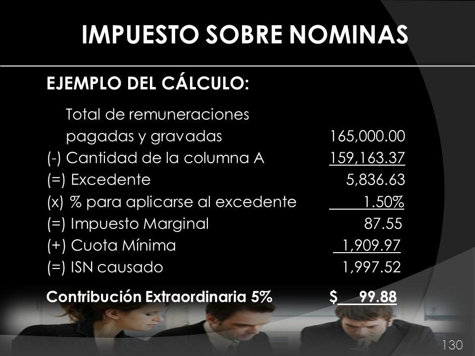 IMPUESTO SOBRE NOMINAS EJEMPLO DEL CÁLCULO: Total de remuneraciones pagadas y gravadas 165,000.00 (-)Cantidad de la columna A159,163.37 (=) Excedente