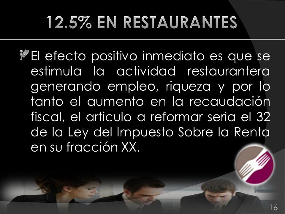 El efecto positivo inmediato es que se estimula la actividad restaurantera generando empleo, riqueza y por lo tanto el aumento en la recaudación fisca