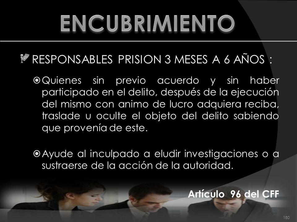 RESPONSABLES PRISION 3 MESES A 6 AÑOS : Quienes sin previo acuerdo y sin haber participado en el delito, después de la ejecución del mismo con animo d