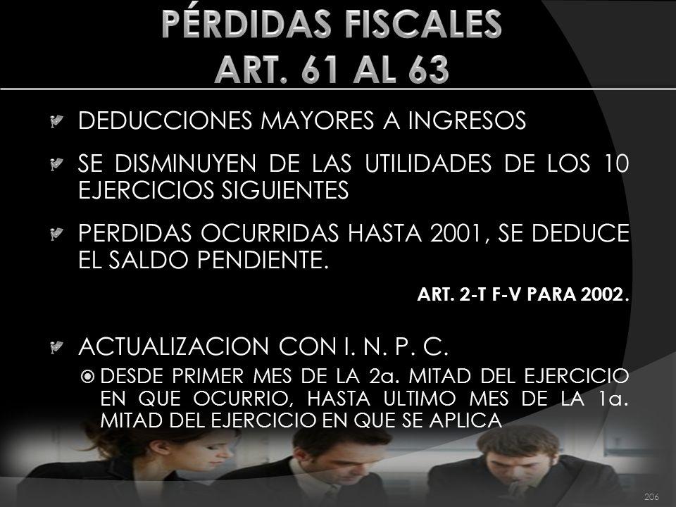 DEDUCCIONES MAYORES A INGRESOS SE DISMINUYEN DE LAS UTILIDADES DE LOS 10 EJERCICIOS SIGUIENTES PERDIDAS OCURRIDAS HASTA 2001, SE DEDUCE EL SALDO PENDI