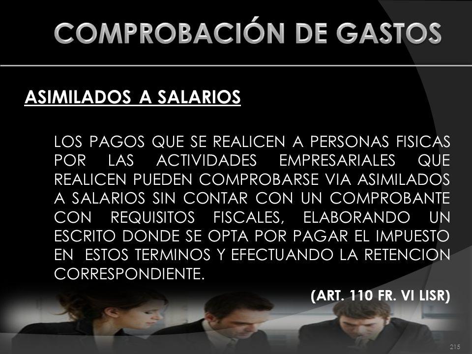 215 ASIMILADOS A SALARIOS LOS PAGOS QUE SE REALICEN A PERSONAS FISICAS POR LAS ACTIVIDADES EMPRESARIALES QUE REALICEN PUEDEN COMPROBARSE VIA ASIMILADO