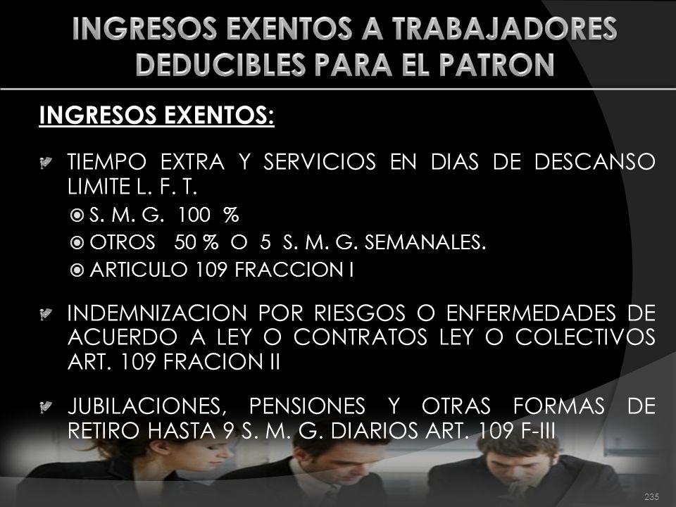 INGRESOS EXENTOS: TIEMPO EXTRA Y SERVICIOS EN DIAS DE DESCANSO LIMITE L. F. T. S. M. G. 100 % OTROS 50 % O 5 S. M. G. SEMANALES. ARTICULO 109 FRACCION