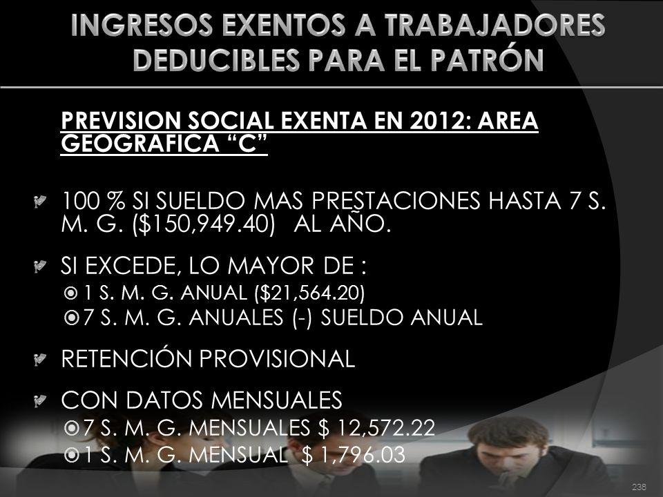 PREVISION SOCIAL EXENTA EN 2012: AREA GEOGRAFICA C 100 % SI SUELDO MAS PRESTACIONES HASTA 7 S. M. G. ($150,949.40) AL AÑO. SI EXCEDE, LO MAYOR DE : 1