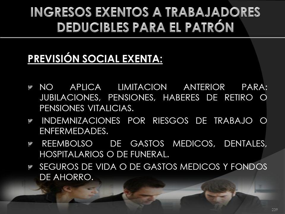 PREVISIÓN SOCIAL EXENTA: NO APLICA LIMITACION ANTERIOR PARA: JUBILACIONES, PENSIONES, HABERES DE RETIRO O PENSIONES VITALICIAS. INDEMNIZACIONES POR RI