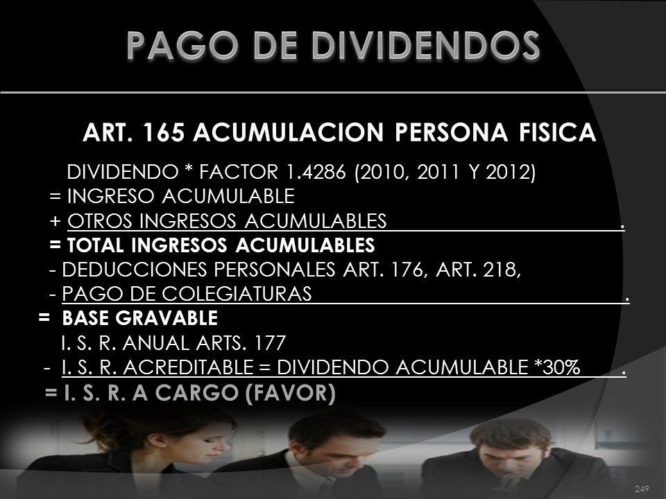 ART. 165 ACUMULACION PERSONA FISICA DIVIDENDO * FACTOR 1.4286 (2010, 2011 Y 2012) = INGRESO ACUMULABLE + OTROS INGRESOS ACUMULABLES. = TOTAL INGRESOS