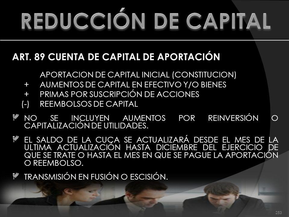 ART. 89 CUENTA DE CAPITAL DE APORTACIÓN APORTACION DE CAPITAL INICIAL (CONSTITUCION) + AUMENTOS DE CAPITAL EN EFECTIVO Y/O BIENES + PRIMAS POR SUSCRIP